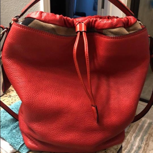 b5ba09c1cad1 Burberry Handbags - Burberry Ashby Cadmium Red Leather Hobo Bag